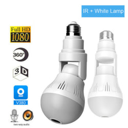 360° Panoramic Hidden Wifi Camera Light Bulb 1080P HD Security I