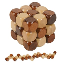 3D Wooden Puzzle Novelty Toys Educational Brain Teaser IQ Mind G 4.8×4.8×4.8cm
