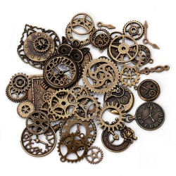 40Pcs Metal Alloy Steampunk Clock Charms Vintage DIY Pendants Je Copper