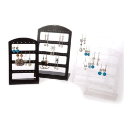 48 Holes Jewelry Organizer Stand Black Plastic Earring Holder Black black  48