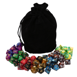 49pcs Acrylic Polyhedral Dice Double Colors Dice With Pouch For  one size