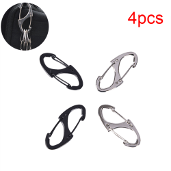 4Pcs Locking Carabiner Keychain 8 Ring Quick Release Buckle Prot black&siliver