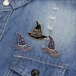 4PCS/Set Enamel Witch Hat Brooch Pin Shirt Collar Pin Women Badg One Size