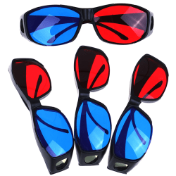4pcs/set Red Blue 3D Glasses Frame for Dimensional Movie DVD Gam One Size