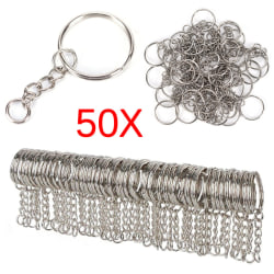 50PCS 25mm Polished Silver Keyring Keychain Split Ring Short Cha