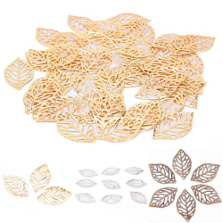 50Pcs Leaves Filigree Metal Crafts Jewelry DIY Accessories  Pen White 2.2cm
