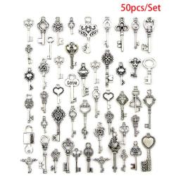 50PCS Mixed Antique Tibetan silver Jewelry Key Charms Pendant C Silver