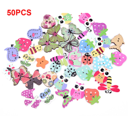 50pcs Mixed Colors  Printed Mini Wood Buttons 2 holes sewing But Multicolor 1.2cm-4cm