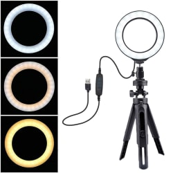 "6"" Led Ring Light Selfie With Tripod Ring For Selfie Phone Video one size"