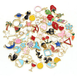 60Pcs/Set Enamel Mixed Animal Fruit Charms Pendant DIY Necklace  Multicolor