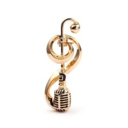 Antik mikrofon Music Not Brosch Collar Pins Women Corsage Gold