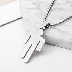 Billie Eilish Pendant Necklace Round Strand Chain Stainless Stee White