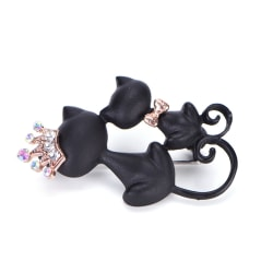 Black Mother Daughter Cats Brooches Crystal Crown Queen Brooch C Black 4.3*2.6cm