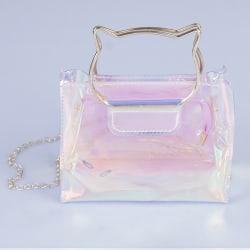 Cat ear pattern Trendy jelly sling bag metal chain single strap