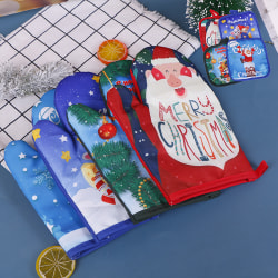 Christmas Oven Gloves Pad Microwave Insulation Anti Hot Mat Baki A