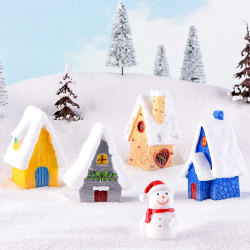 Christmas Snow House Figurines Garden Miniatures Resin Craft Mic Yellow