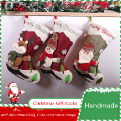 Christmas Socks Hanging Gift Candy Packing Storage Bag Hanging T Snowman