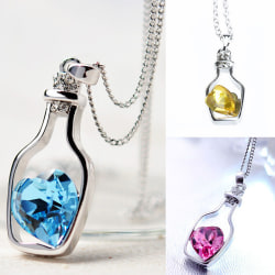 Creative New Fashion Necklace Ladies Popular Love Drift Bottles  Navy