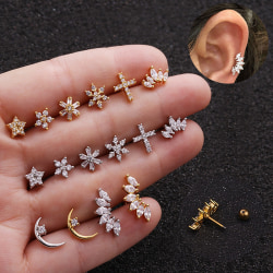 Crystal Bar Barbell Ear Brosk Tragus Helix Studs Piercing E