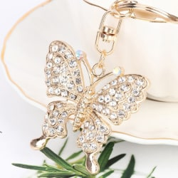 Crystal Butterfly Jewelry Keychain Women Key Holder Chain Ring C