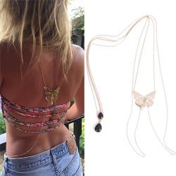 Crystal Necklace Beach Bikini Long Body Chain Butterfly Pendant