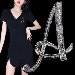 Crystal Rhinestone 26 Letters Women Collar Brooch Pin Corsage Bo A