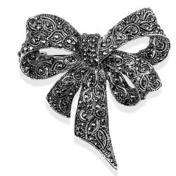 Crystal Rhinestone Bow Brooch Pin Women Shirt Collar Big Bowknot Black
