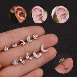 Crystal Rhinestone Moon Sun Ear Helix Brosk Body Piercing E G