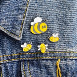 Cute 4PCS Enamel Animal Bee Brooch Pin Shirt Collar Pin Badge Co Yellow
