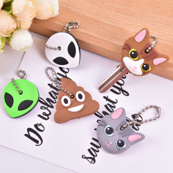 Cute Soft Silicone Animals Key Ring Cap Head Cover Chain Phone  dark gray cat