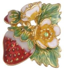 Emalj Strawberry Brooch Pin Shirt Collar Bouquet Fruit Brooch Multicolor