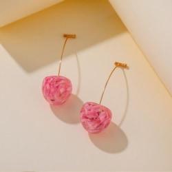 Fashin Resin Dried Flower Cherry Fruit Drop Earrings Women Gril  Red