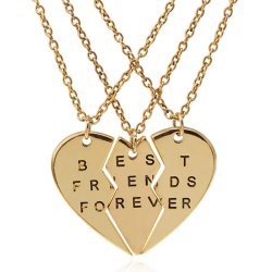 Fashion 3Pieces Broken Heart Pendant Necklace Chic Best Friends  Gold