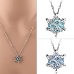 Fashion Blue Crystal Snowflake Necklace Frozen Flower Silver Pen Sea Blue 0