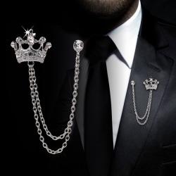 Fashion Crown Chain Tassel Brosch Pin Collar Badge Corsage Män Gold