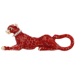 Fashion Crystal Red Leopard Brooch Pin Collar Badge Corsage Jewe Red