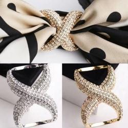 Fashion Crystal Scarf Shawl Buckle Clip Wedding Hoop Brooch Pins Silver