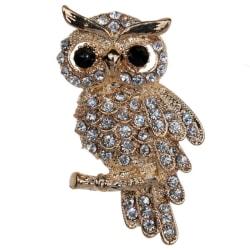 Mode guldpläterad uggla glänsande kristallinlägg Lady smycken Rhiner