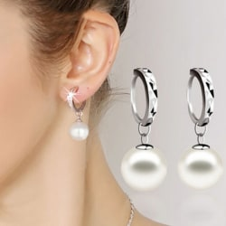 Fashion Ladies 925 sterling Silver Freshwater Peal Dangle Ear st White