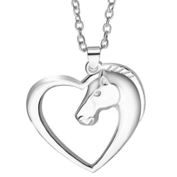 Fashion New Jewelry Plated White K Horse In Heart Necklace Penda Silver Chain length:50cm