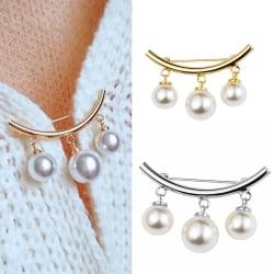 Fashion Pearl Fixed Strap Charm Safety Pin Brooch Sweater Cardi Gold