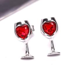 Mode röd färg hjärta kristall sten vinglas örhängen Silver