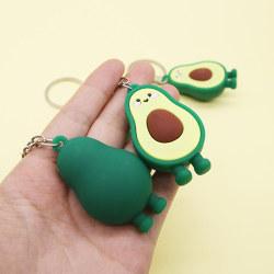 Fashion Simulation Fruit Avocado Smile Keychain 3D Resin Key Cha Green