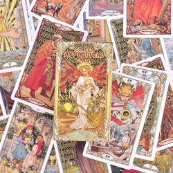 Golden Art Nouveau Tarot Deck 78 Cards for Beginners Classic Art