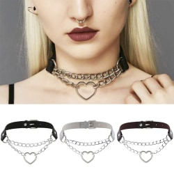 Gothic Punk Leather Choker Heart Pendant Chain Buckle Collar Nec Black