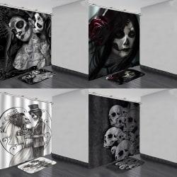 Halloween skull Waterproof Shower Curtain Anti slip Bath Mat Ba D 180*200 curtain