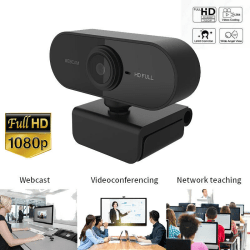 HD 1080P Webcam Auto Focusing Web Camera Cam W/ Microphone For P Black