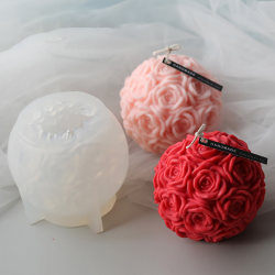 Huge Flower Ball 3D Rose Shaped Silicone Decorative Soap Candle  one size