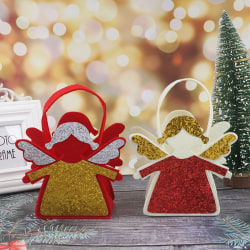 Kids angel Christmas Candy Bag Pouch Cotton Linen Santa Claus Xm Red