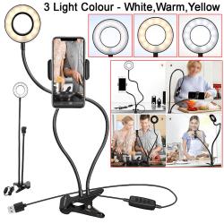 LED Selfie Ring Light Flexible Mobile Phone Holder Lazy Bracket  White